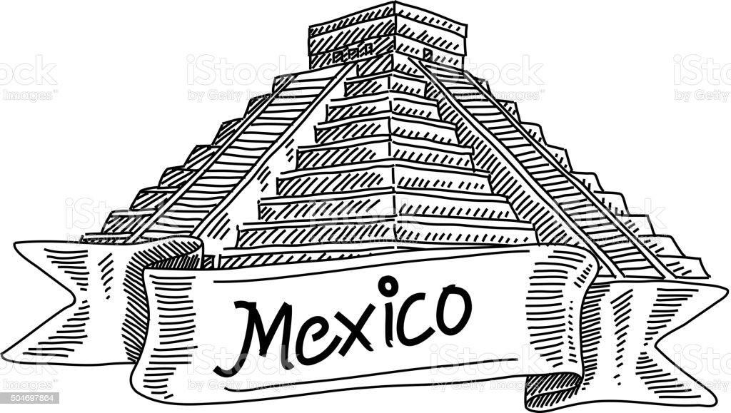 Kukulkan Templemexico Drawing Stock Vector Art Amp More