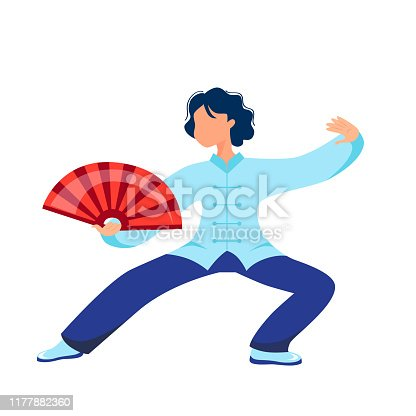 Vector illustration of a girl performs kung fu and tai chi exercises with a fan