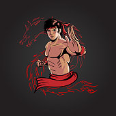 Kung Fu Man version 3 vector illustration editable layers for poster, tshirt print, design element or any other purpose.
