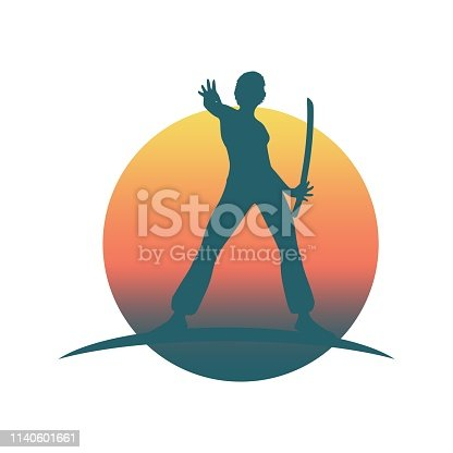 Martial art silhouette of woman in sword fight Kung Fu pose. Emblem for sport club.