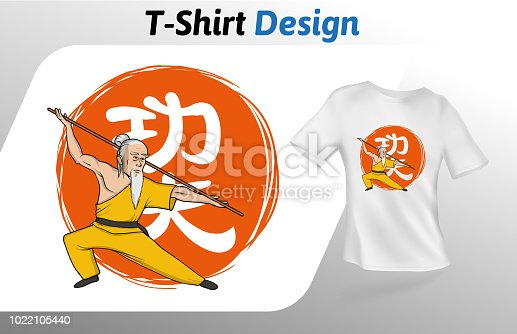 Kung fu master on Chinese hieroglyph meaning kung fu, t-shirt print. Colorful mock up t-shirt design template. Vector template, isolated on white background.