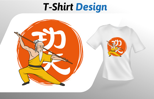 Kung fu master on Chinese hieroglyph meaning kung fu, t-shirt print. Mock up t-shirt design template. Vector template, isolated on white background.