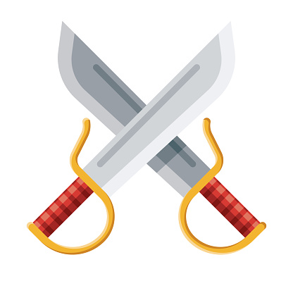 Kung Fu Swords Icon on Transparent Background