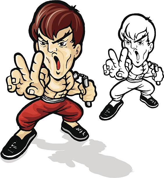 kung fu - old man naked cartoon stock illustrations, clip art, cartoons, & icons