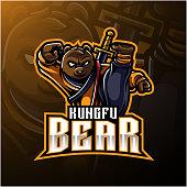 Illustration of Kungfu bear mascot logo with a sword