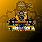Illustration of Kungfu gorilla esport mascot logo