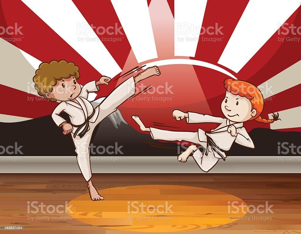 Kungfu - ilustração de arte em vetor