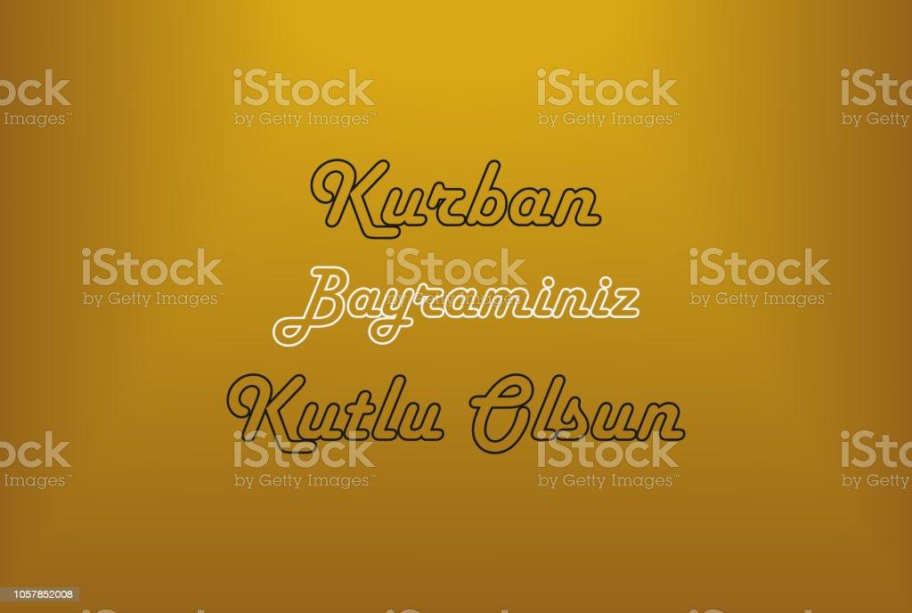 Kurban Bayraminiz Kutlu Olsun auf Goldgrund, fest der Sacrif, Eid al-Adha Mubarak – Vektorgrafik