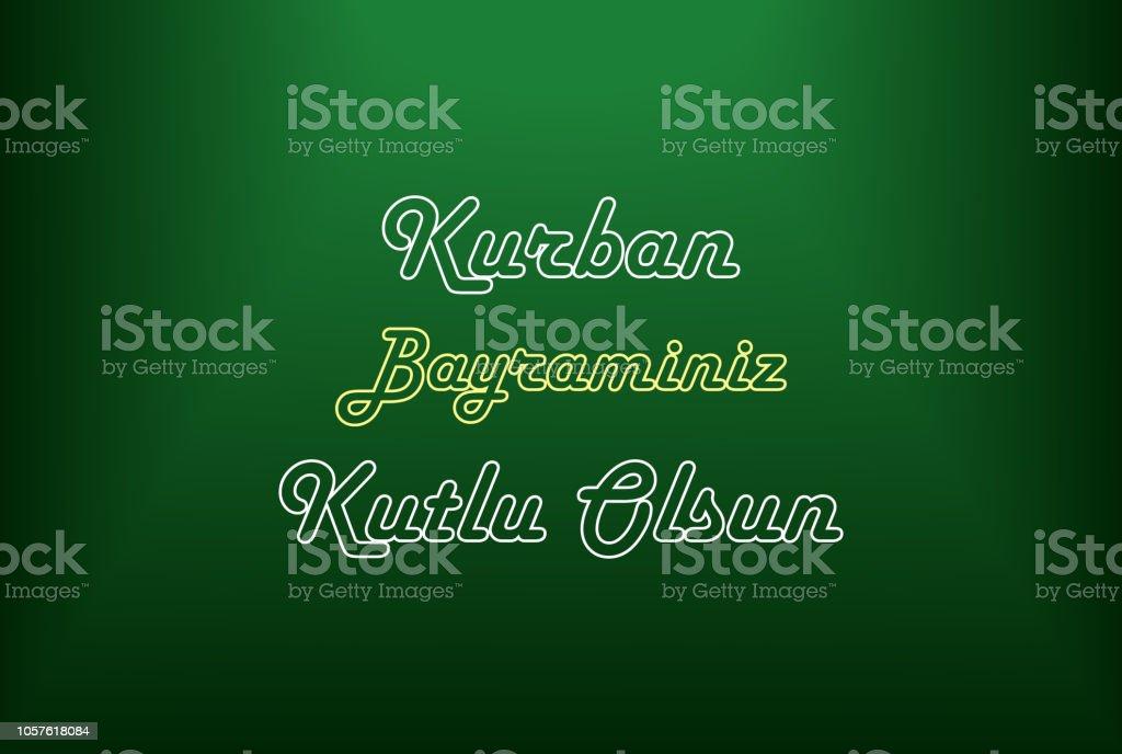 Kurban Bayraminiz Kutlu Olsun auf grünem Hintergrund, fest der Sacrif, Eid al-Adha Mubarak – Vektorgrafik