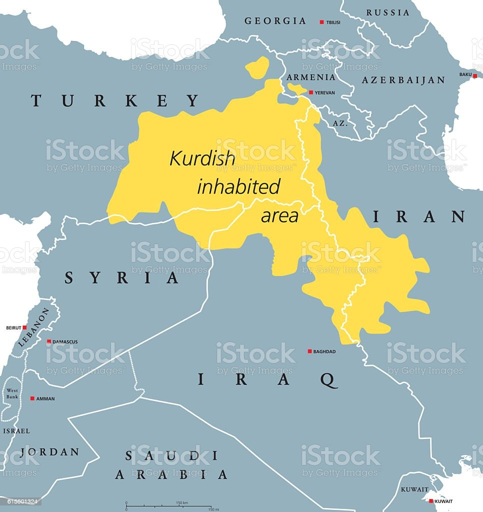 Kurdish-inhabited area political map - ilustración de arte vectorial