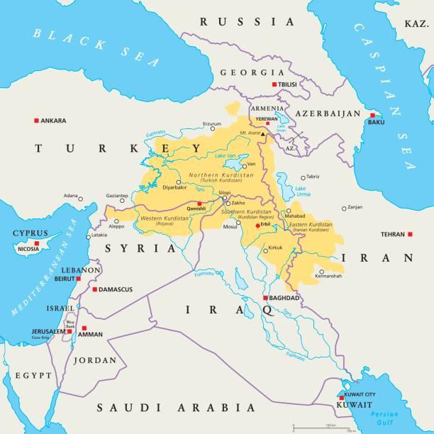 ilustraciones, imágenes clip art, dibujos animados e iconos de stock de mapa político de la región de kurdistán - mapa de oriente medio