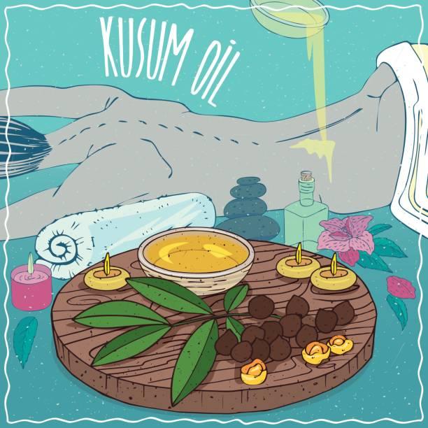 illustrazioni stock, clip art, cartoni animati e icone di tendenza di kusum oil used for body massage - china drug