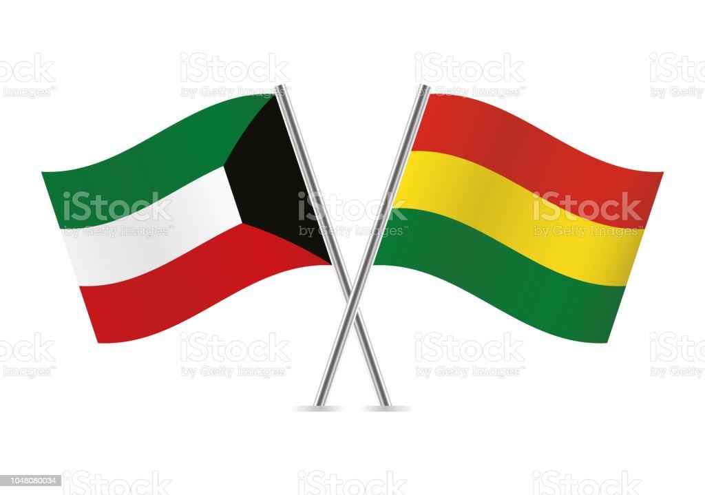 Banderas de España y Bolivia. Ilustración de vector. - ilustración de arte vectorial