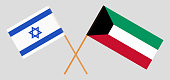 Kuwait and Israel. Kuwaiti and Israeli flags. Official colors. Correct proportion. Vector