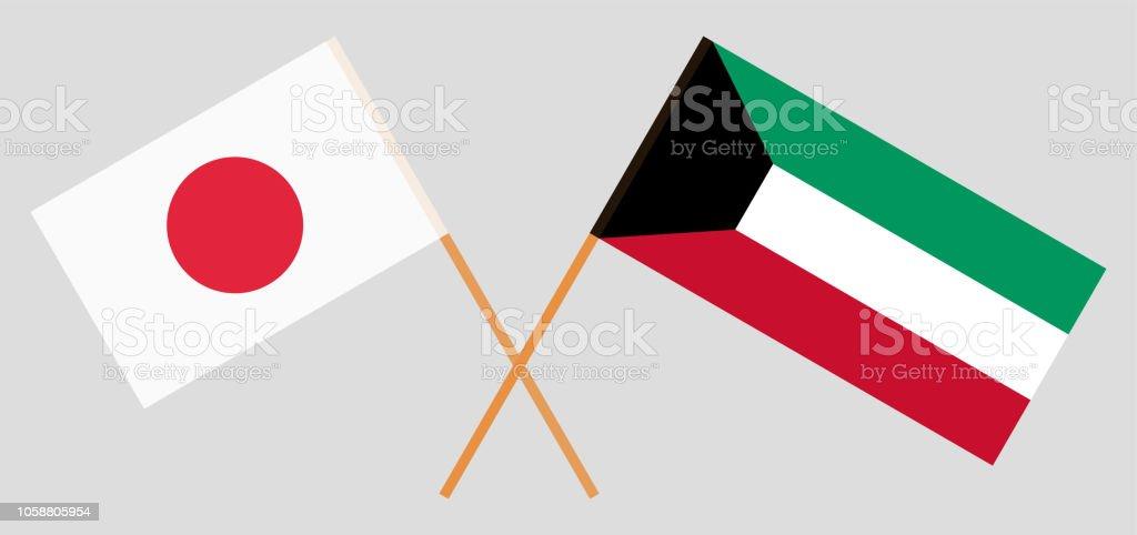 Kuwait y Japón. Banderas kuwaitíes y japonés. Colores oficiales. Proporción correcta. Vector de - ilustración de arte vectorial