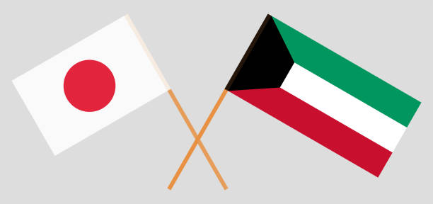 Kuwait and Japan. Kuwaiti and Japanese flags. Official colors. Correct proportion. Vector vector art illustration