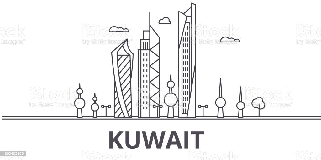 Kuwait architecture line skyline illustration. Linear vector cityscape with famous landmarks, city sights, design icons. Landscape wtih editable strokes vector art illustration
