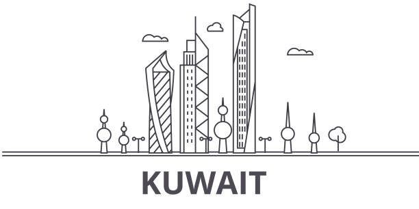 Kuwait Flag Coloring Page Royalty Free Kuwait Skyline Clip Art Vector Images