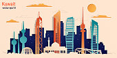 Kuwait city colorful paper cut style, vector stock illustration