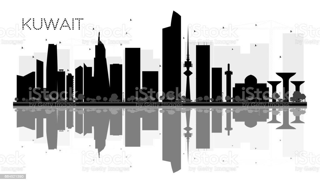 Kuwait City skyline black and white silhouette with reflections. vector art illustration