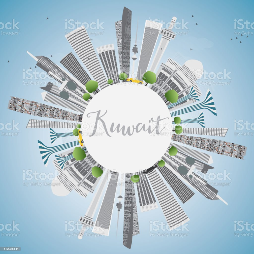 Kuwait City Skyline with Gray Buildings and Blue Sky. vector art illustration