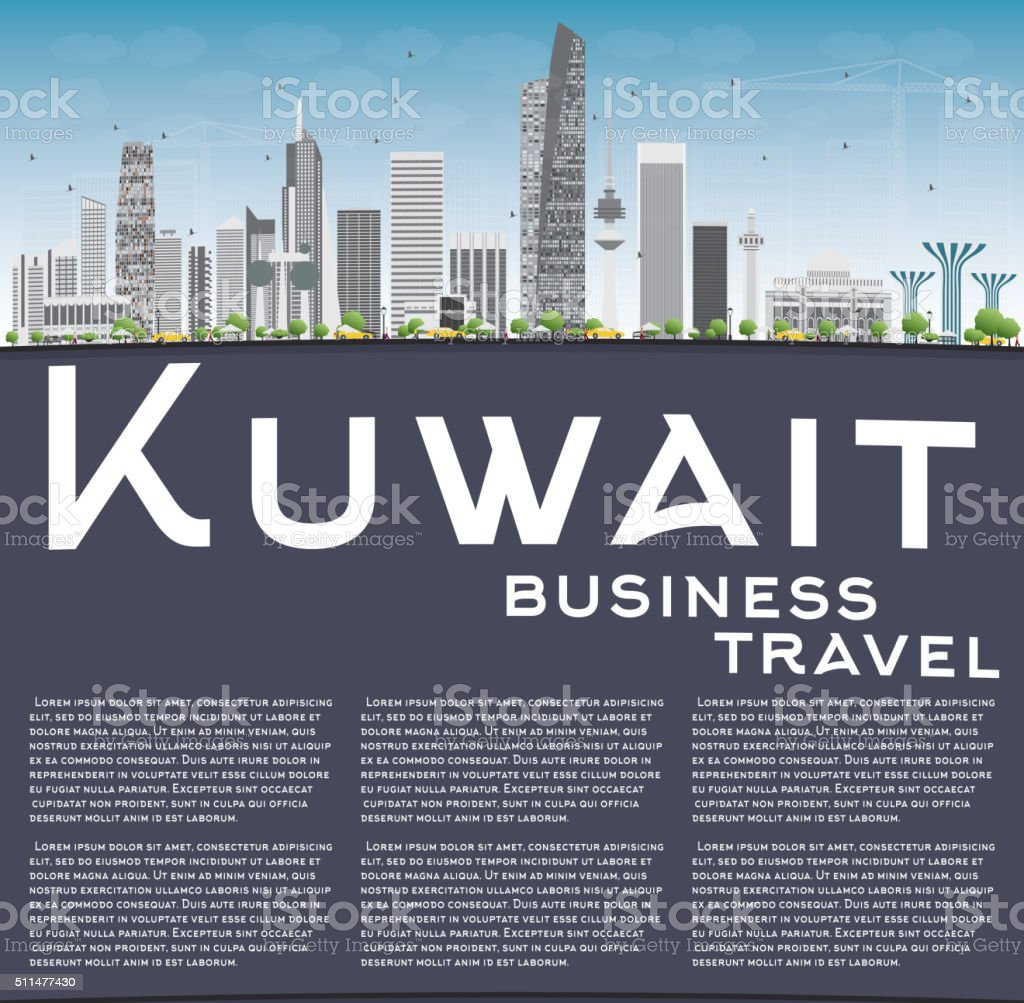 Kuwait City Skyline with Gray Buildings and Copy Space. vector art illustration