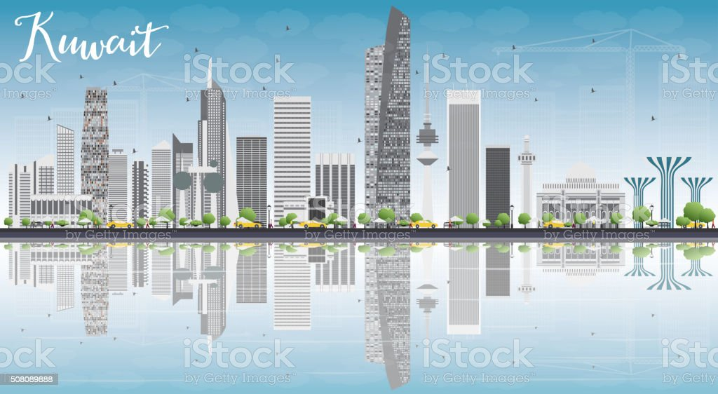 Kuwait City Skyline with Gray Buildings, Blue Sky and Reflection vector art illustration