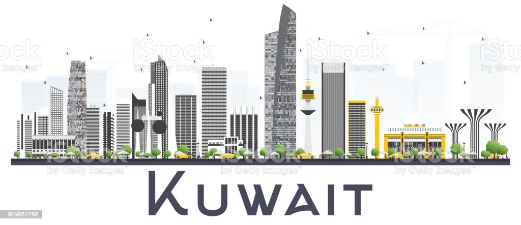 Kuwait City Skyline with Gray Buildings Isolated on White Background. vector art illustration