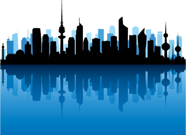 Kuwait City (All Buildings Are Complete and Moveable) vector art illustration