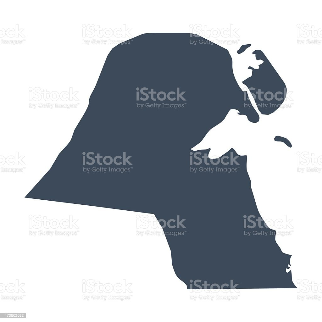 Kuwait country map vector art illustration