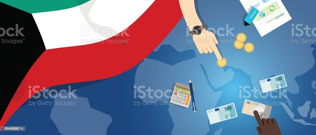 Kuveyt Ekonomi Mali Para Ticaret Konsept Illüstrasyon Bayrak Harita