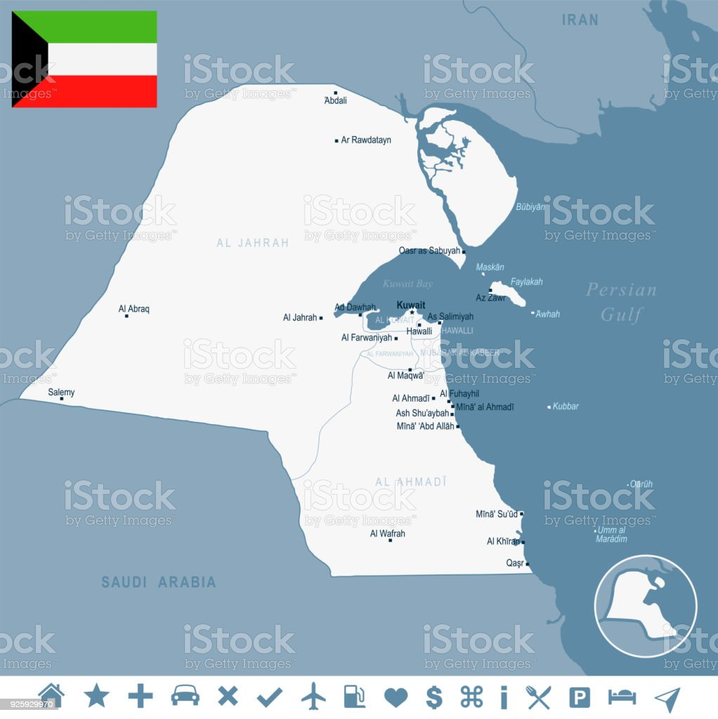 Kuwait Map And Flag Detailed Vector Illustration Stock ...