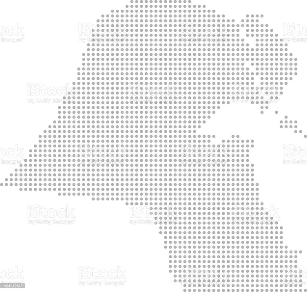 Kuwait Map Dots Vector Outline Dotted Map Point Patterns Map ...