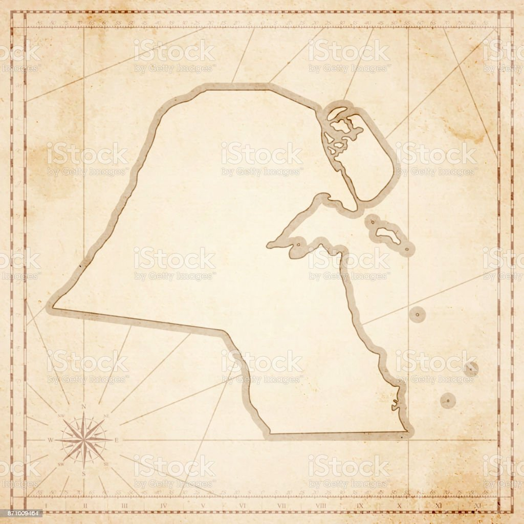 Kuwait map in retro vintage style - old textured paper vector art illustration