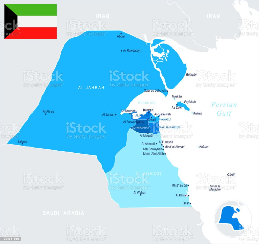 Kuwait Map Info Graphic Vector Illustration Stock Vector Art More