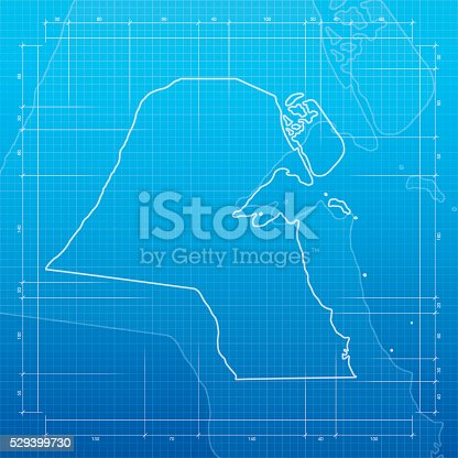 Kuwait map on blueprint background stock vector art 529399730 istock malvernweather Gallery