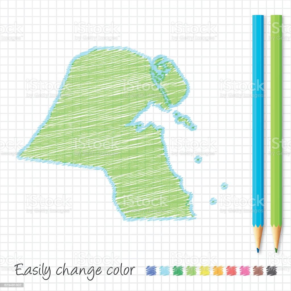 kuwait map sketch with color pencils on grid paper stock vector art