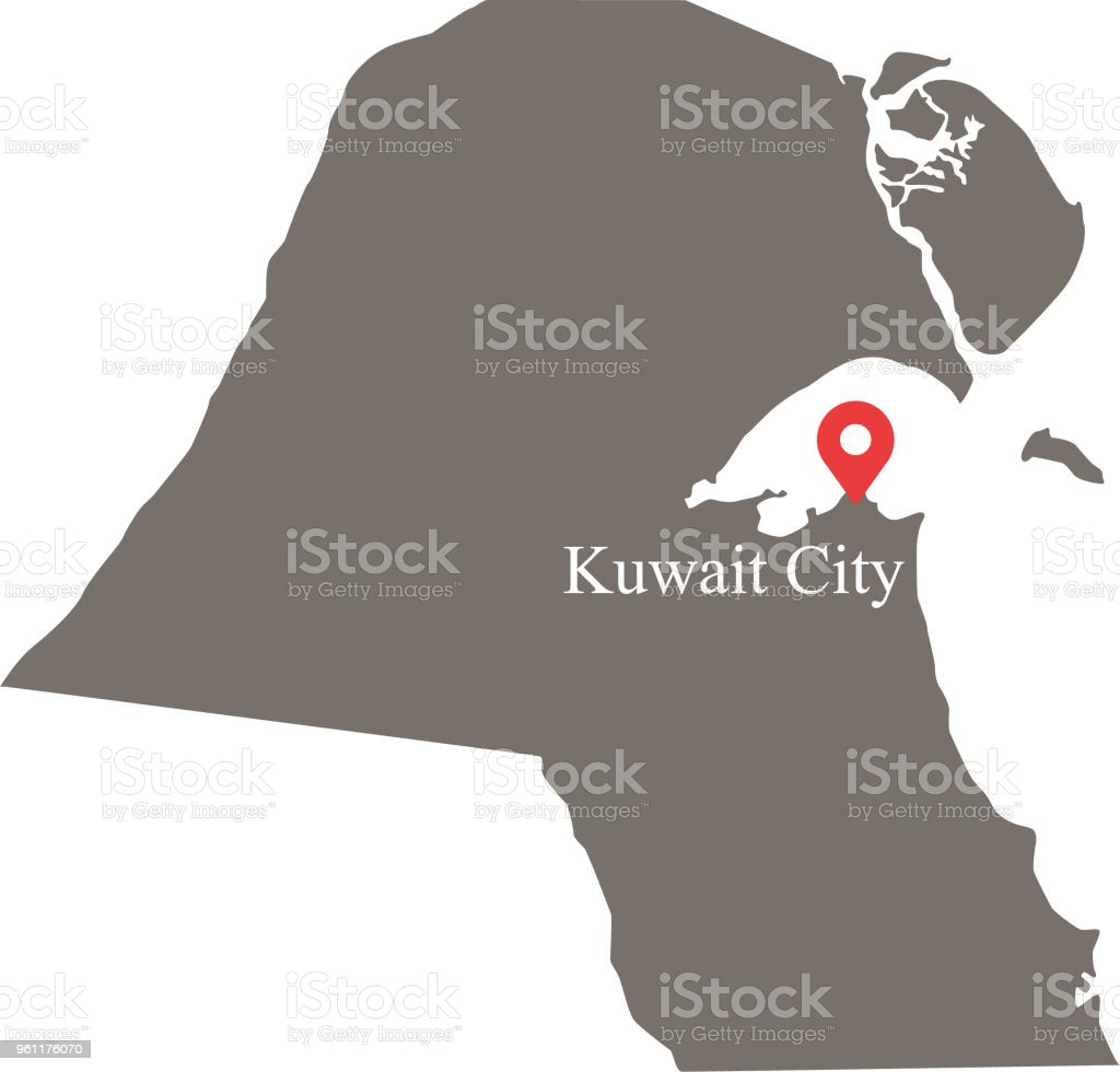 Kuwait map vector outline with capital location and name kuwait city kuwait map vector outline with capital location and name kuwait city labeled in gray gumiabroncs Gallery