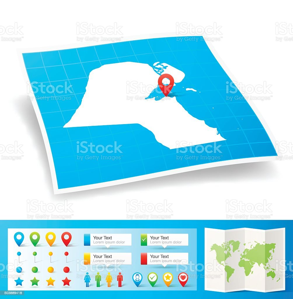 Kuwait Map with location pins isolated on white Background vector art illustration