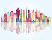 Kuwait skyline. Vector illustration