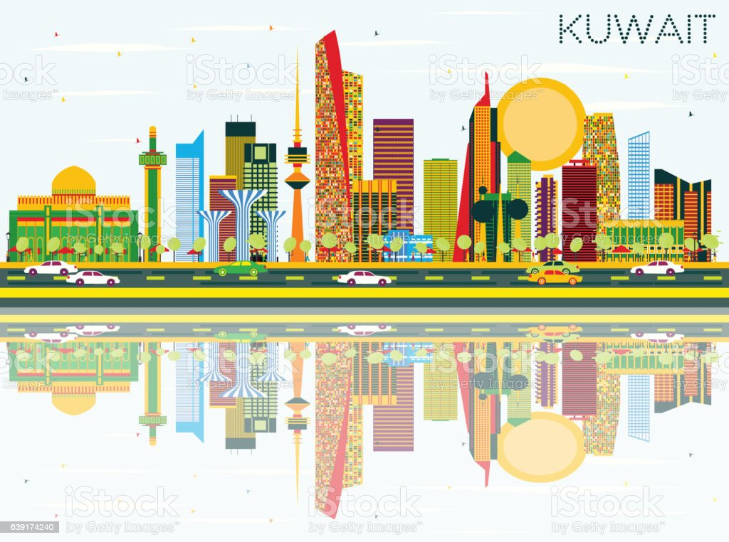 Kuwait Skyline with Color Buildings, Blue Sky and Reflections. vector art illustration