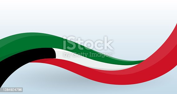 istock Kuwait Waving National flag. Modern unusual shape. Design template for decoration of flyer and card, poster, banner and logo. Isolated vector illustration. 1284924796