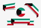 Kuwaiti flag stickers and labels. Vector illustration.