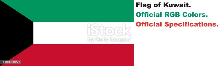 istock Kuwaiti Flag (Official RGB Colours, Official Specifications) 1150905277