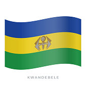 KwaNdebele waving flag vector icon. Vector illustration isolated on white.