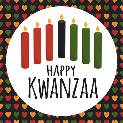 Kwanzaa - African American heritage holiday. Black history. Seven candles in round frame. Seamless pattern with hearts in African colors - red, green, yellow. Poster, greeting card, banner.