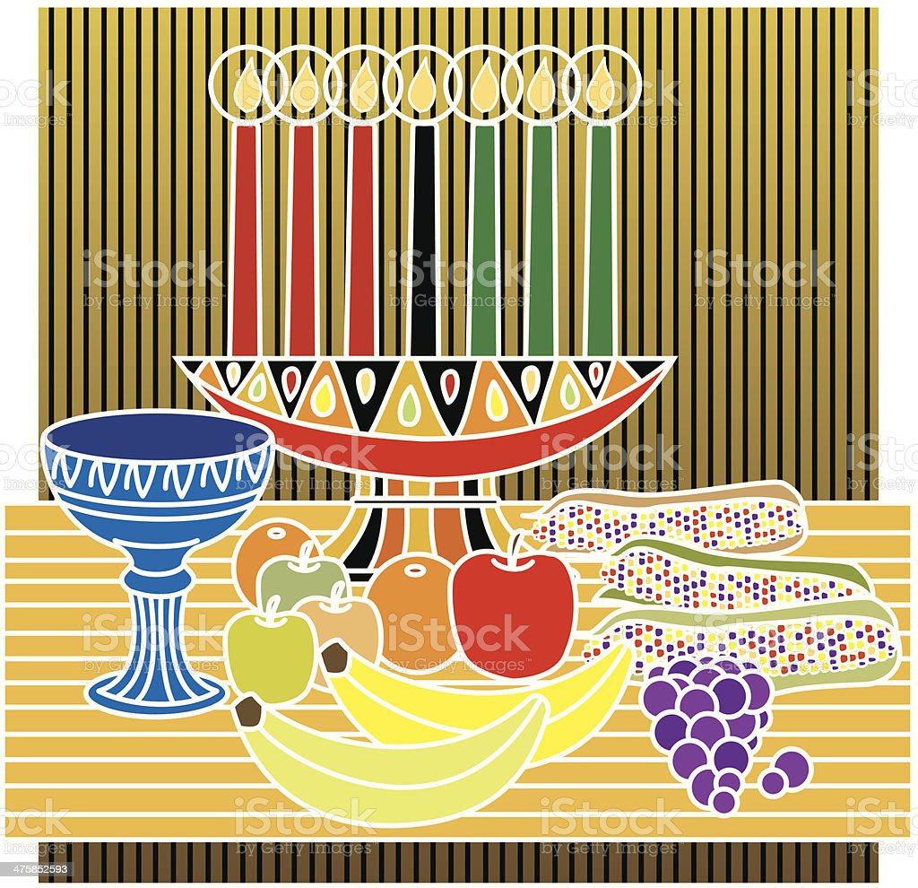 Kwanzaa Candles Fruit C royalty-free stock vector art