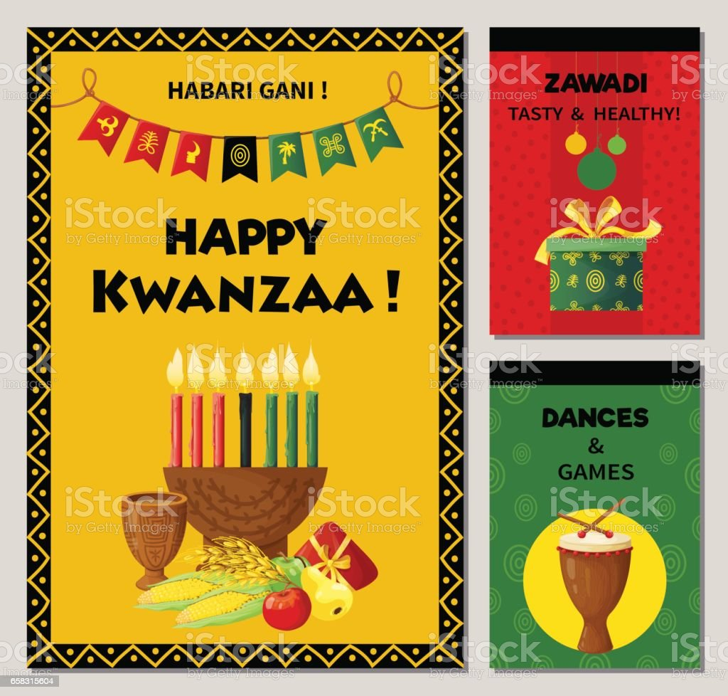 Kwanzaa celebration banners in ethnic style.