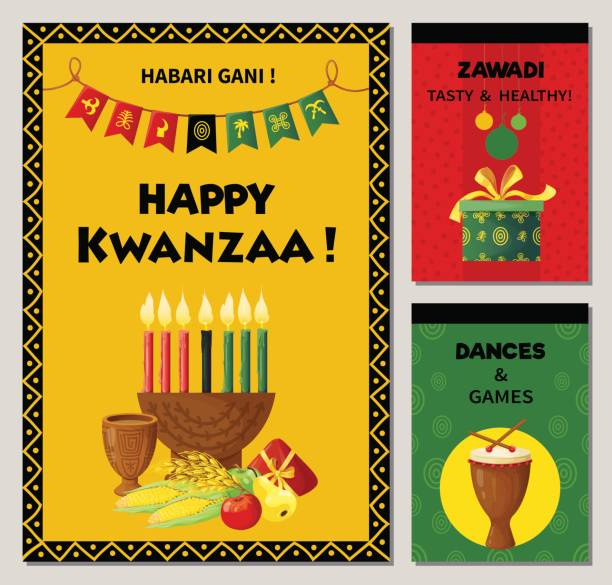 Kwanzaa celebration banners in ethnic style. vector art illustration
