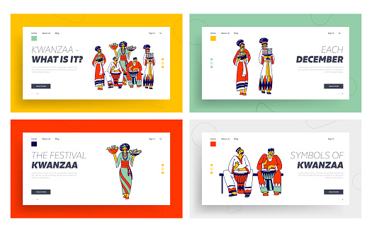Kwanzaa Celebration Landing Page Template Set. African Characters in National Costumes Playing Drums, Carry Traditional Meals and Candles. African-american Culture. Linear Vector People Illustration